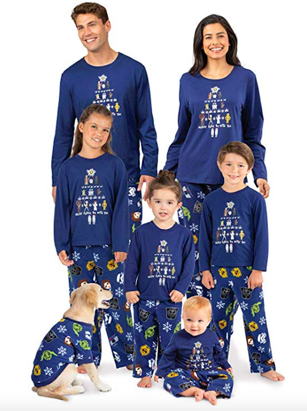 Family Matching Blue Star Wars Christmas PJs