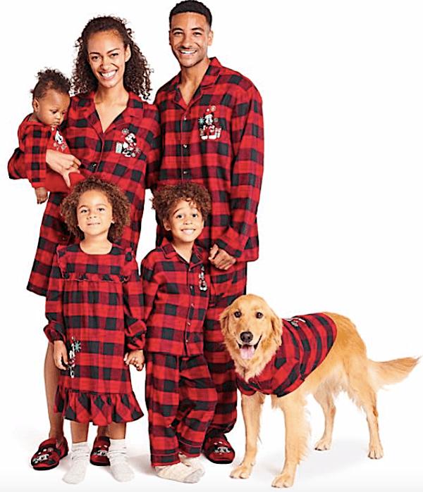 Family Matching Disney Mickey and Minnie Holiday Plaid Pajamas
