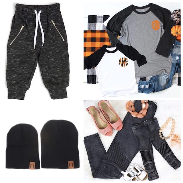 Family Matching Fall Outfits with Monogrammed Tops, Bottoms and Beanies