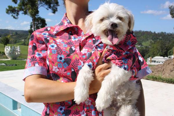 Match Your Pup Pink Toucan and Hibiscus Hawaiian Shirts