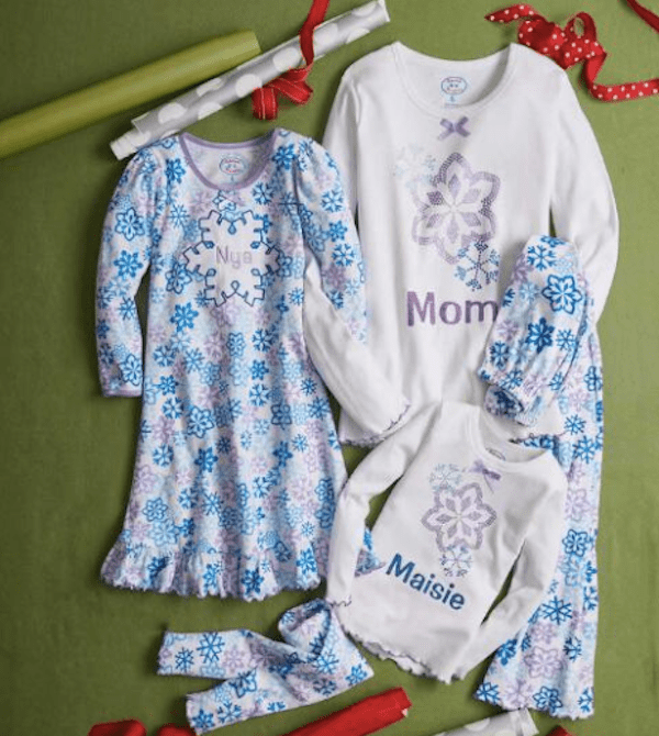 Mommy and Me Glitter Snowflake Holiday Sleepwear