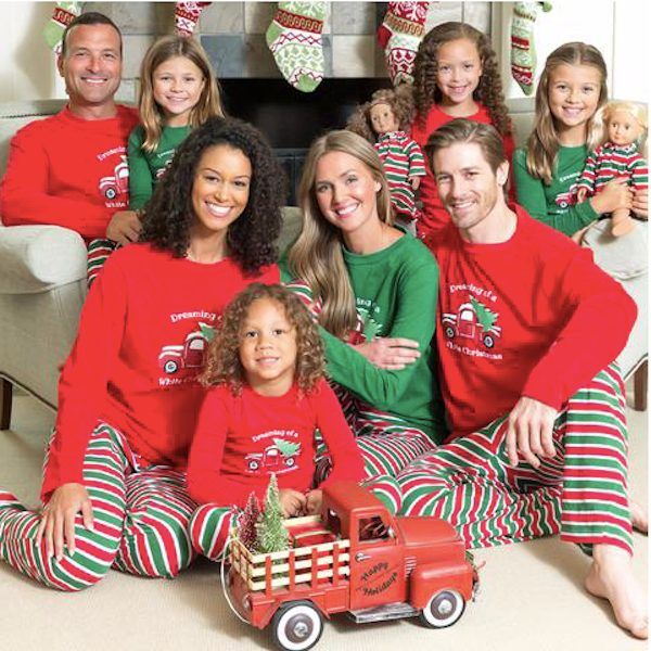 Dreaming of a White Christmas Striped Family Pajamas