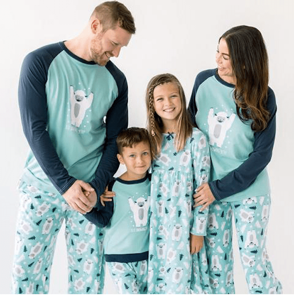 Family Matching Blue Winter Snow Yeti Fleece Pajama Set