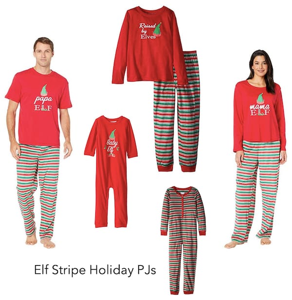 Family Matching Elf Stripe Holiday PJs