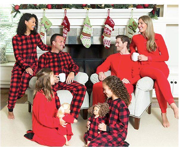 Fleece Buffalo Plaid and Solid Red Onesie Pajamas