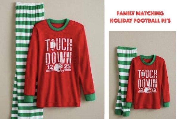 Family Matching Holiday Football Pajamas