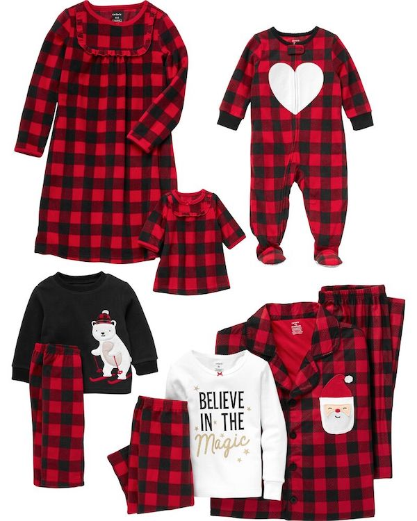 Family Matching Red and Black Plaid Christmas Pajamas