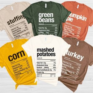 Family Matching Thanksgiving Food T-Shirts