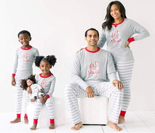 Winter Snowflake Grey Stripe Pajamas