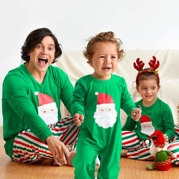 Family Matching Santa + Stripes Holiday PJs