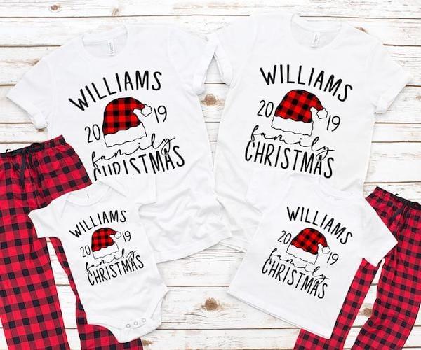 Buffalo Plaid Santa Hat Family Matching Christmas Pajamas