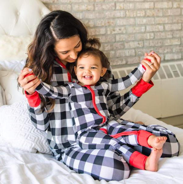 Family Matching Black and White Plaid Holiday Pajamas