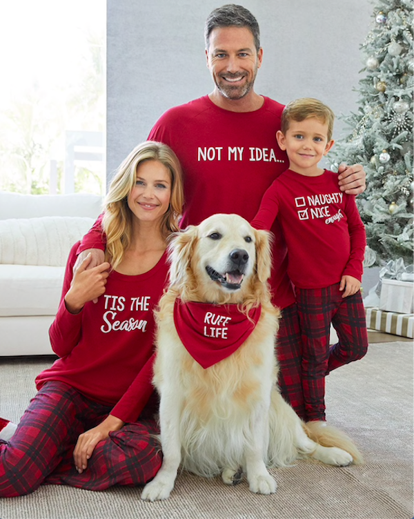 Family Matching Peace and Joy Red Plaid Christmas Pajamas