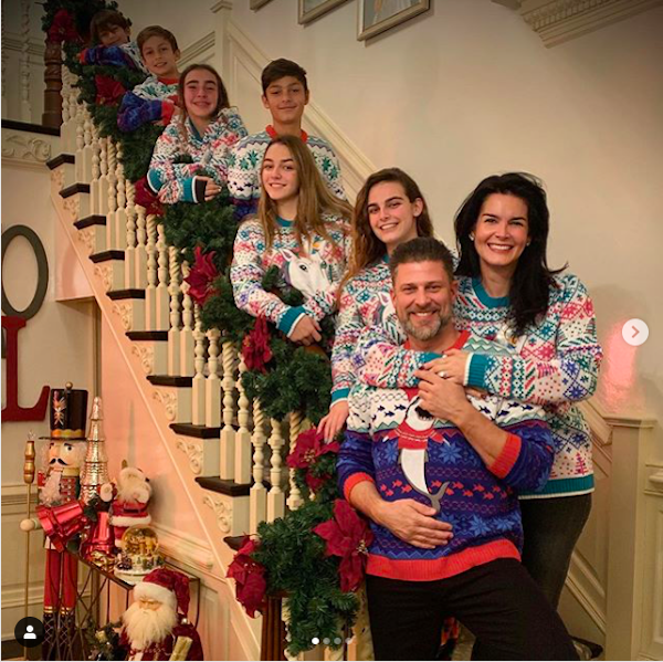 Angie Harmon and Family Wearing Matching Christmas Sweaters