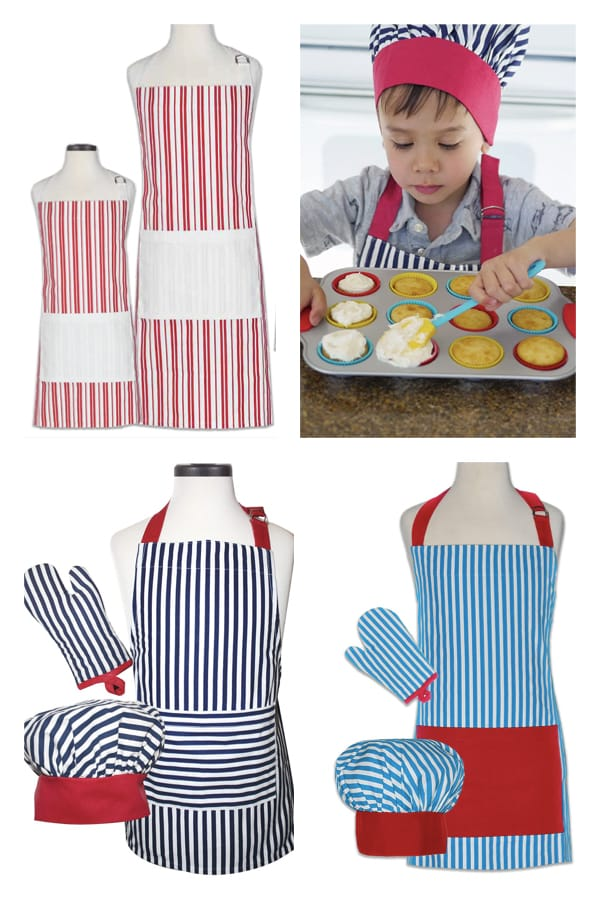 Mommy Daddy and Me Matching Striped Aprons