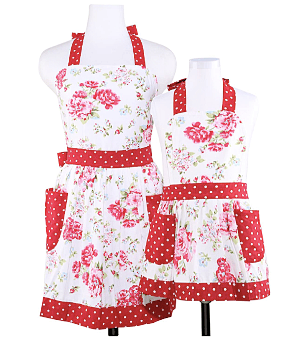 Mommy and Me Matching Red and Pink Floral Aprons