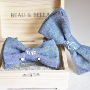Matching Daddy + Me Chambray Bow Ties