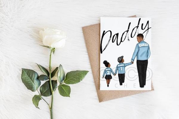 Customizable African American Matching Daddy and Me Father's Day Greeting Card