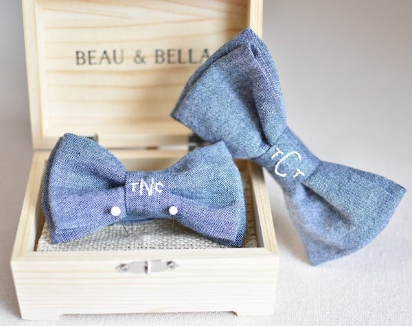 Hand embroidered chambray matching daddy and me bow ties