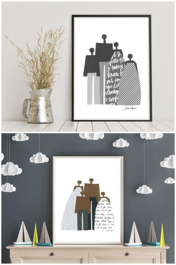 Printable Family Art in Matching Outfits