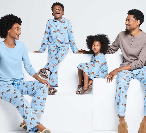 CRYSTAL BLUE SLOTH Holiday Christmas Flannel Matching Family Pajamas