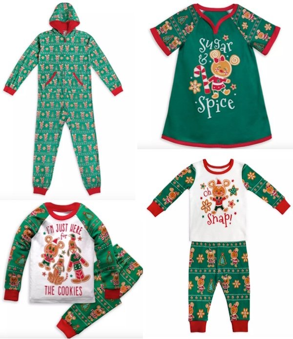 Disney Mickey Minnie Mouse Holiday Christmas Gingerbread Family Matching Pajamas