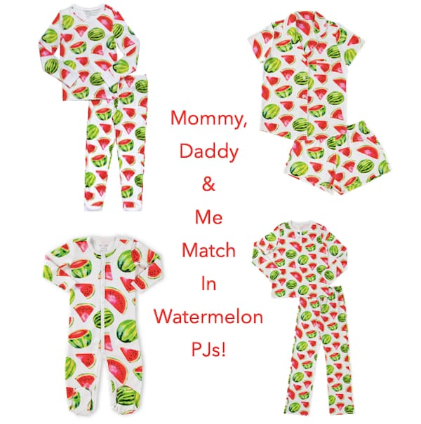 Family Matching Cotton Watermelon Print Pajamas