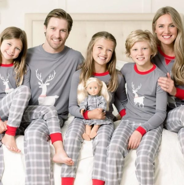 Family Matching Grey Plaid Deer Pajama PJ Sets