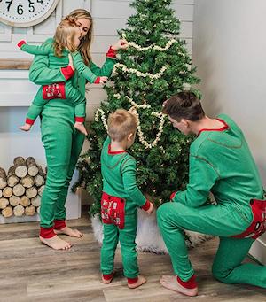 Green Don't Open Till Xmas Family Matching Onesies