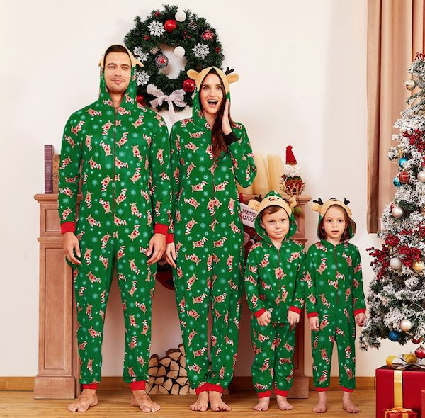 Green Mosaic Reindeer Family Matching Onesie Pajama