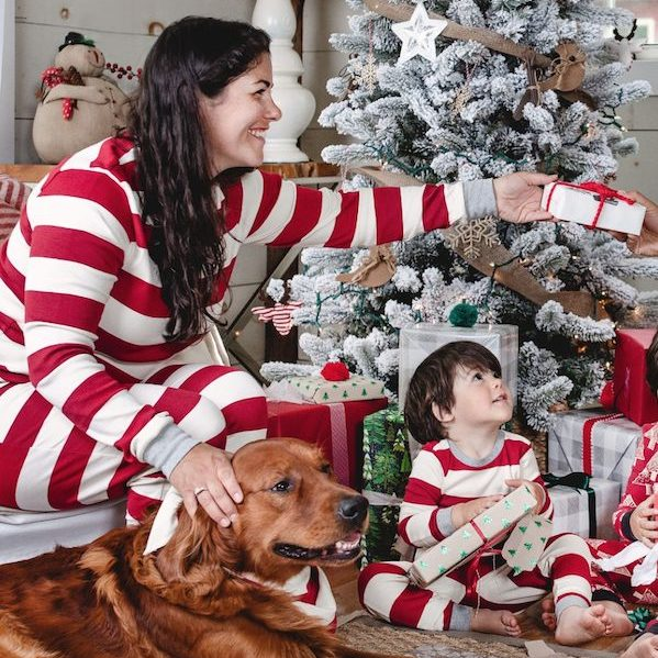 Holiday Matching Red Rugby Stripe Family Pajamas Made with Organic Cotton