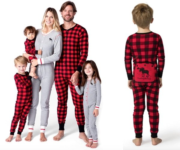 Little Blue House By Hatley Moose Family Plaid and Grey Union Suits