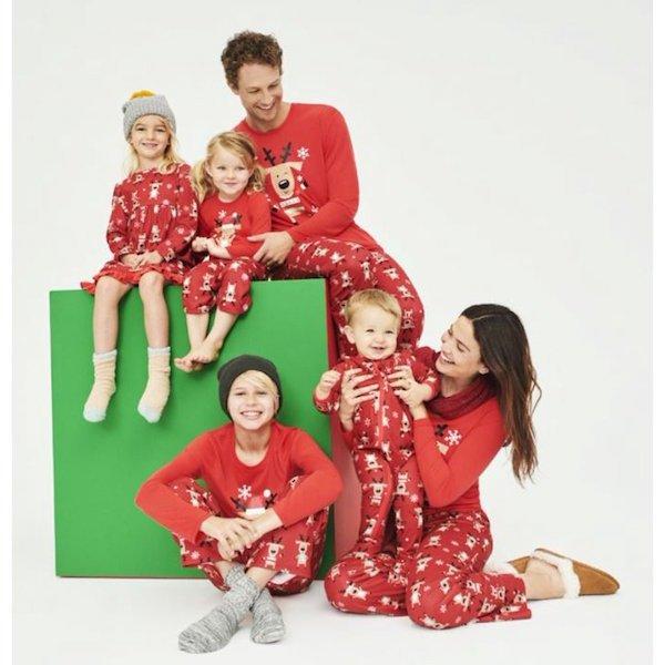 Matching Family Christmas Pajamas Red Reindeer