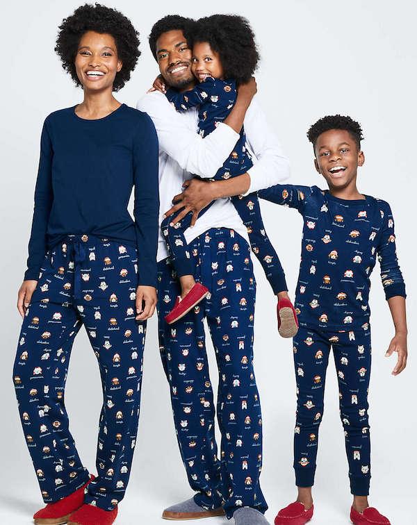 Navy Christmas Dogs Holiday Flannel Family Pajamas