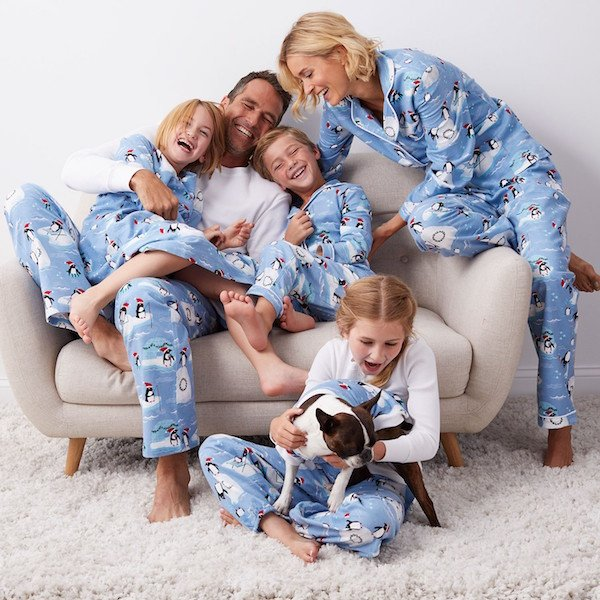 Penguin Flannel Christmas Family Matching Pajamas