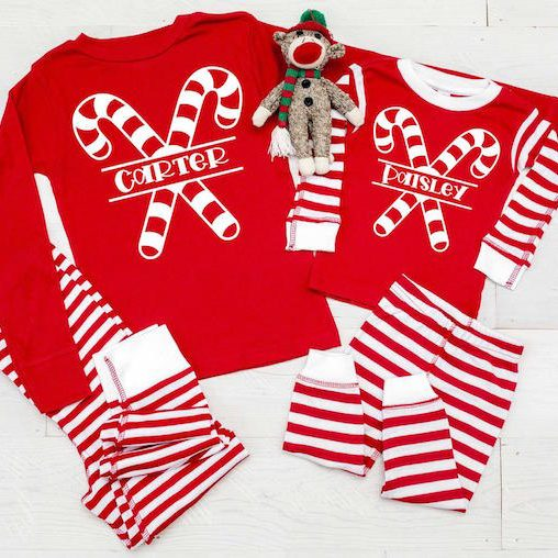 Personalized Candy Canes Christmas Pajamas