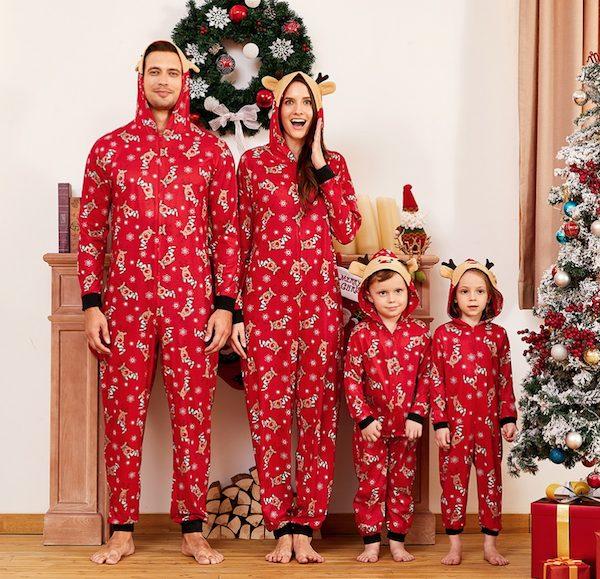 Red Mosaic Reindeer Family Matching Onesie Pajama