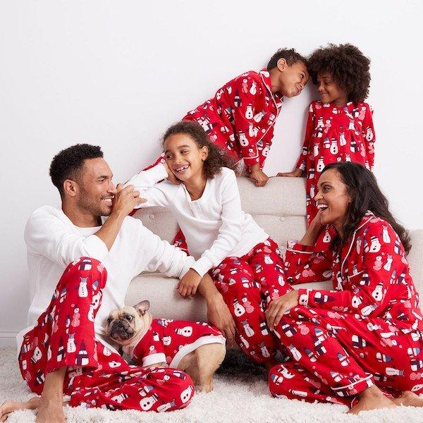 Red Snowman Family Christmas Pajamas