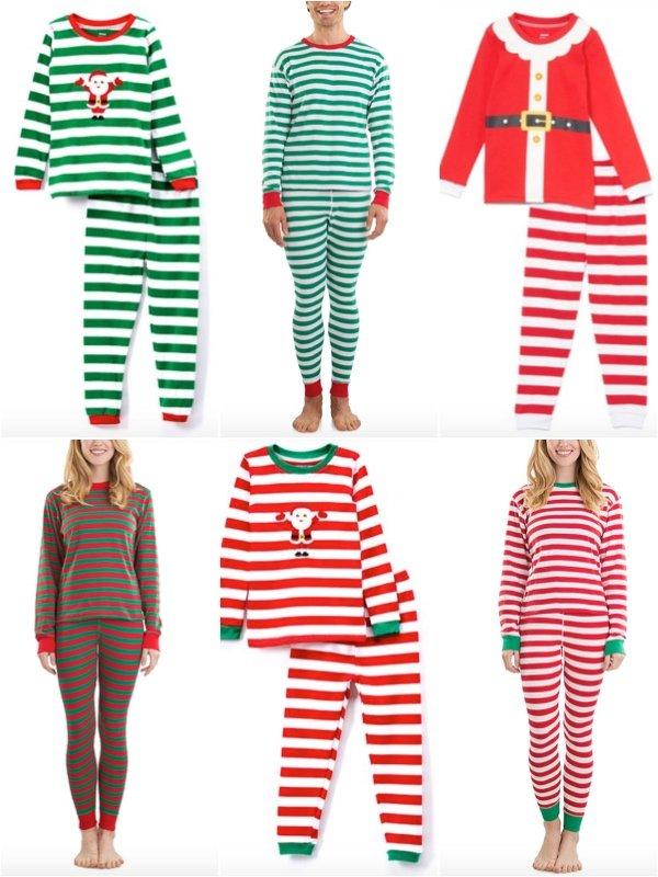 Red White Green White Stripe Holiday Christmas Family Pajamas
