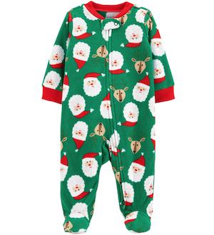 Santa Reindeer Green Christmas Family Matching Onesie
