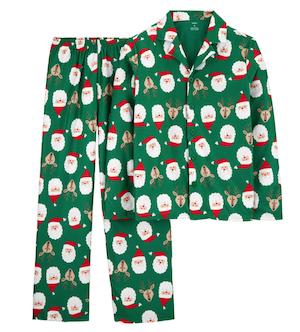 Santa Reindeer Green Christmas Family Matching Pajamas