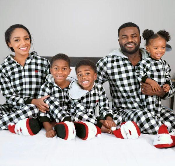 Unisex Matching Family Buffalo Plaid Fleece One Piece Pajamas
