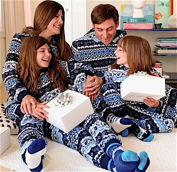 Unisex Matching Family Hanukkah Fairisle Fleece One Piece Matching Pajamas