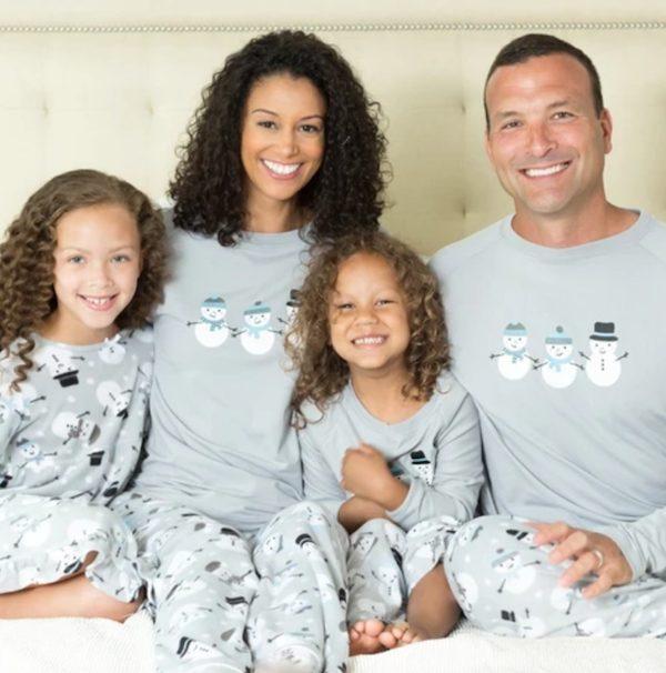 Winter Snowman Grey Fleece Pajamas Family Matching