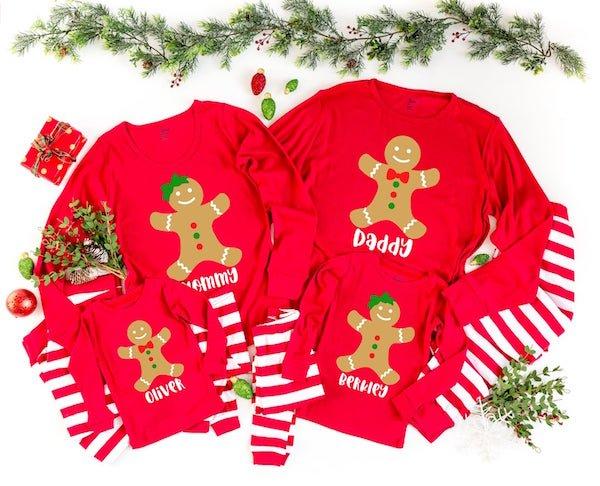 Personalized Gingerbread Family Christmas Pajamas