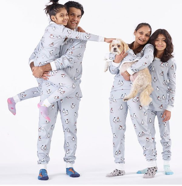 Snug-Fit Organic Cotton Family Matching Holiday Pajamas Skiing Penguins