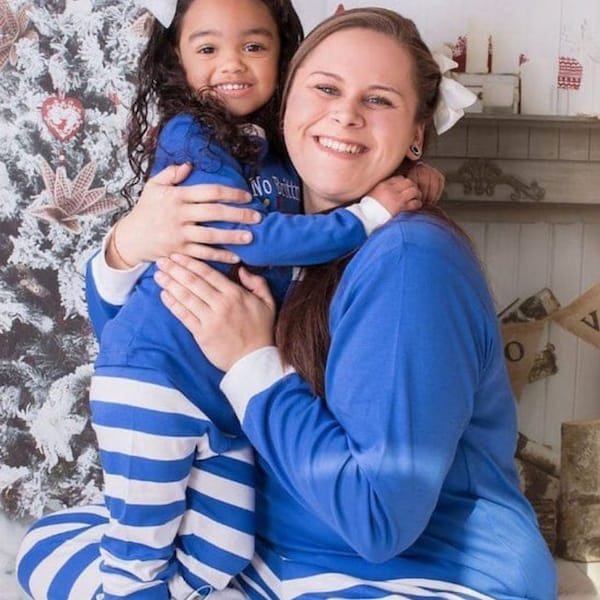 Blue with White Stripe Family PJs