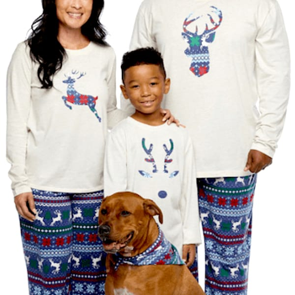 Family Matching Blue Reindeer Fairisle Christmas Pajamas