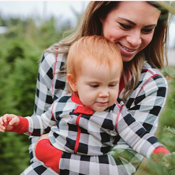 Family Matching Buffalo Plaid Organic Cotton Holiday Pajamas