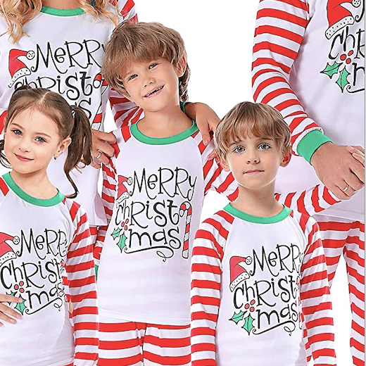 Merry Christmas Striped Family Holiday Pajamas